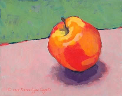 Still life painting of apple, simple still life, Acrylic Painting 101 art workshop, acrylic painting art workshop with Karen Lynn Ingalls