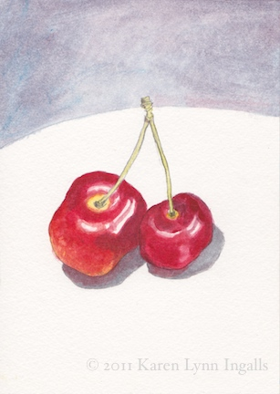 acrylic paints look like watercolor, cherry still life painting, still life painting of cherries, Karen Lynn Ingalls