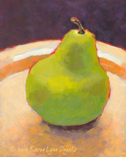 Still life painting of pear, simple still life, Acrylic Painting 101 art workshop, acrylic painting art workshop with Karen Lynn Ingalls