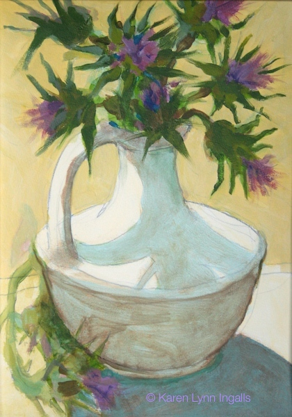 still life painting, acrylic still life, thistle bouquet, acrylics like watercolor, Karen Lynn Ingalls art