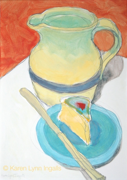 still life painting, acrylic still life, pitcher and cheese, simple meal, acrylics like watercolor, Karen Lynn Ingalls