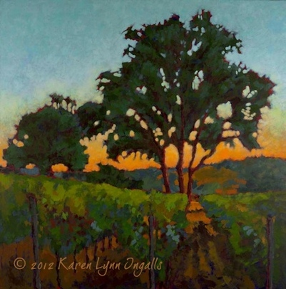 Napa Valley vineyard landscape painting, painting of