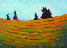 Napa Valley landscape painting, painting of vineyards, by Karen Lynn Ingalls