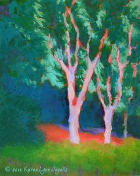 Napa Valley vineyard painting with eucalyptus tree, Napa Valley landscape art by Karen Lynn Ingalls