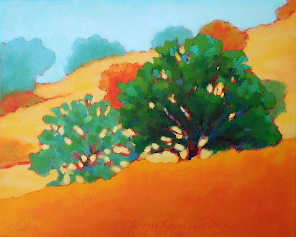 California landscape with oak trees and meadow by Karen Lynn Ingalls