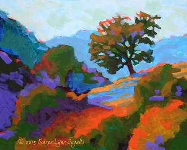 landscape painting of rural California, California landscape art, by Karen Lynn Ingalls