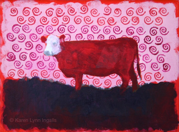 In the Pink, mixed media painting, cow painting, Karen Lynn Ingalls