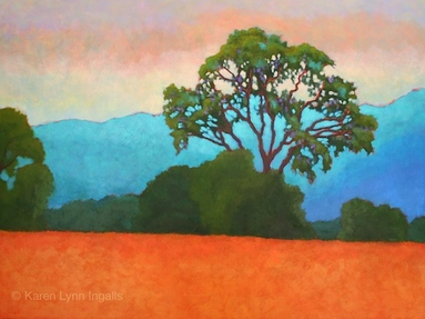 Vineyard landscape painting with oak tree, Napa Valley landscape art, by Karen Lynn Ingalls